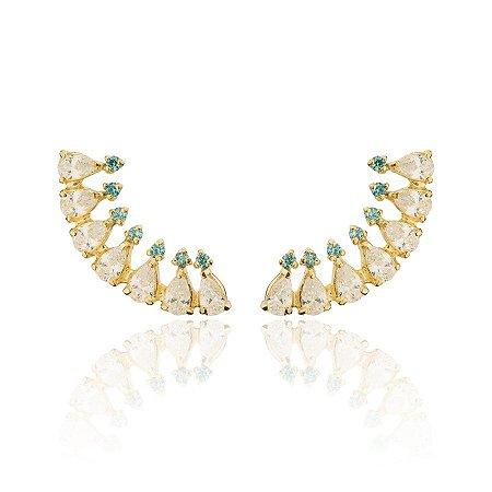 Brinco Semijoia Ear Cuff, Cravejado Com Zircônias E Gotas De Cristais, Banhado Em Ouro 18k