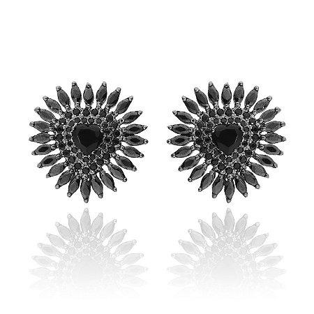 Brinco Semijoia De Coração De Cristal Cravejado Com Zircônias, Banhado Em Ródio Negro