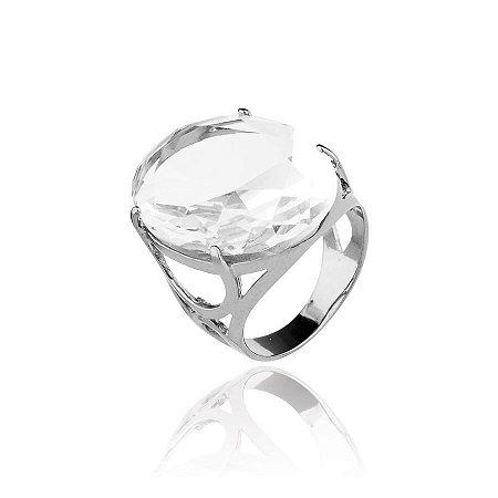 Anel semijoia de aro rondete e pedra de cristal, banhado no ródio negro