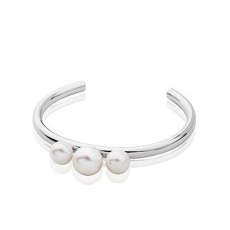 Bracelete semijoia com pérolas, banhado em ródio branco