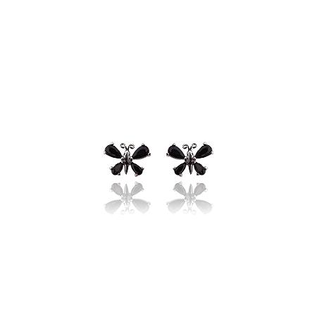 Brinco de borboleta cravejada com zirconias negras e banhado em ródio negro