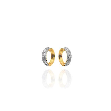 Brinco De Argola Pequena Craveja E Rodinada, Banhada Em Ouro 18k