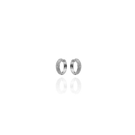 Brinco de argola pequena craveja e rodinada, banhada em ródio branco