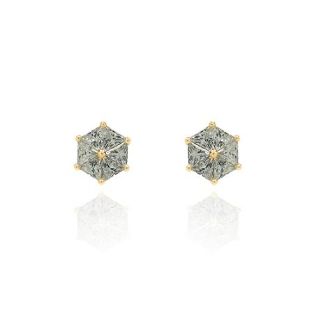 Brinco Pedra Hexagonal 7 Pontos Banhado A Ouro