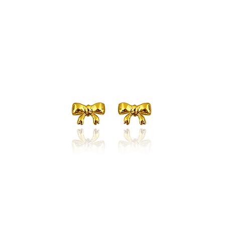 Brinco Laço (Mini) Banhado Em Ouro 18k
