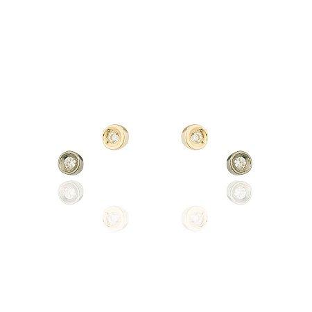 Brinco Ponto De Luz Mini, Tiffany Duplo Cores Diferentes Banhado Em Ouro 18k E Ródio Negro