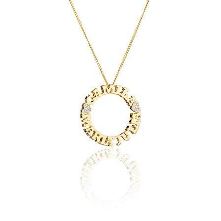 Mandala nome semi joia de 27 a 30 caracteres Colar + Pingente banhado em ouro 18K