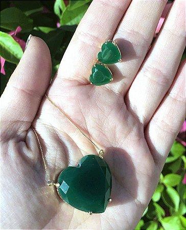 Conjunto Colar E Brinco Coração Verde Esmeralda Banho Ouro