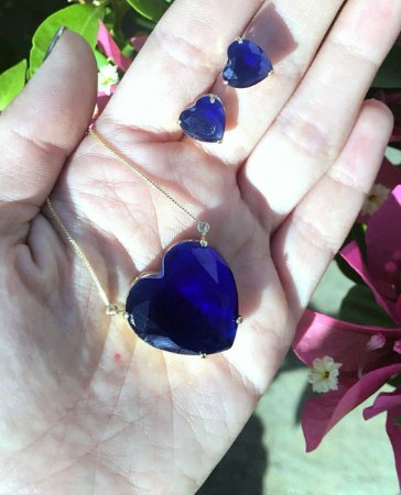 Conjunto De Colar E Brinco De Coração Azul Bic Banho De Ouro