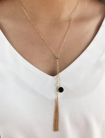 Colar Gargantilha Gravatinha Pedra Preta Banhado Ouro