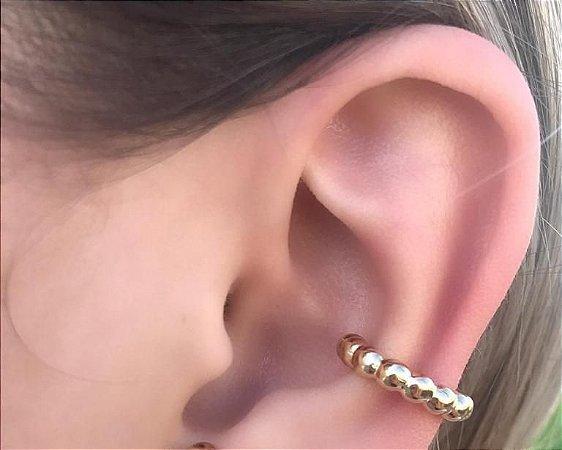 Brinco Piercing Fake Bolinhas Banhado a Ouro 18K Par