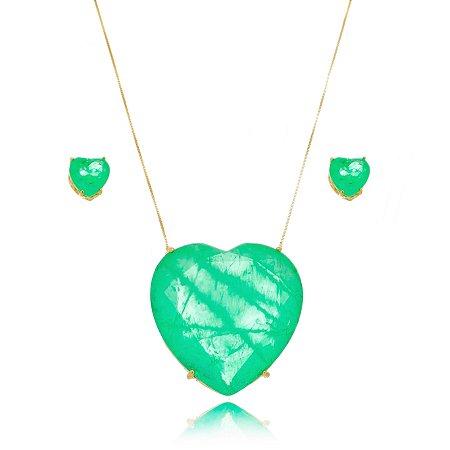 Conjunto Colar e Brinco Coração Verde Turmalina Banho a Ouro