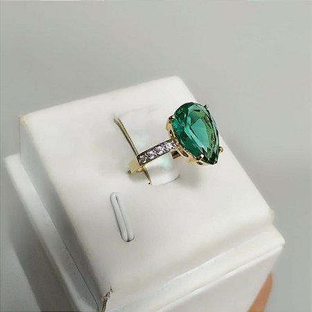 Anel Solitário Forma de Gota Verde Turmalina Folheado a Ouro