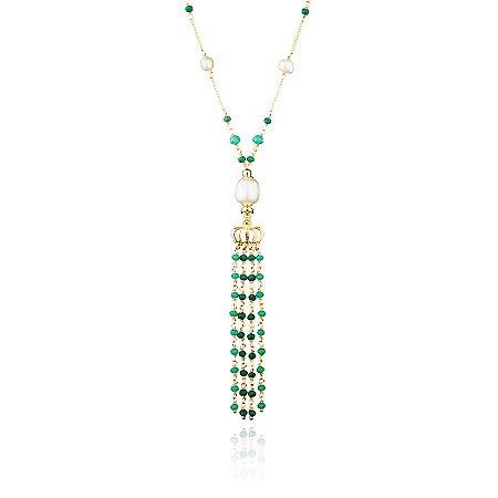 Colar Feminino Longo Pérolas e Pedras Verde Esmerada Banho Ouro