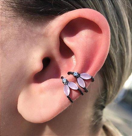 Brinco Piercing Fake Orelha Rosa Folheado Ródio Negro