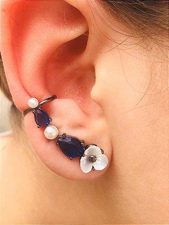 Brinco Ear Cuff Pedra Azul Safira Madre Perola  Ródio Negro