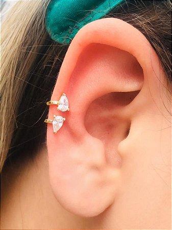 Piercing Fake Orelha Branco Cartilagem Folheado Ouro Par