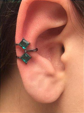 Piercing Fake Orelha Verde Cartilagem Banho Ródio Negro Par