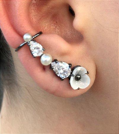 Brinco Ear Cuff Zirconia Branca Madre Perola  Ródio Negro