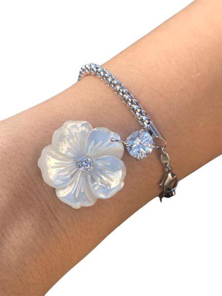 Pulseira Flor de Madre Ponto de Luz Zirconia Ródio Branco