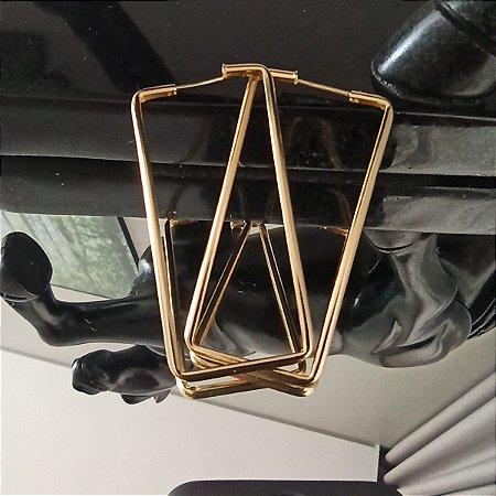 Argola Retangular Maxi Grande banhado a ouro
