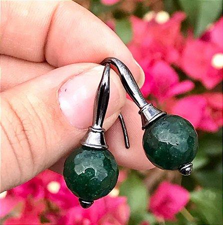 Brinco Gancho Verde Esmeralda banhado em Ródio Negro