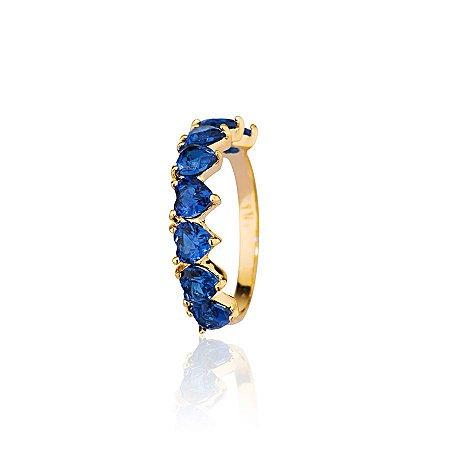 Anel Meia Aliança De Corações Zirconia Azul Banhado a Ouro