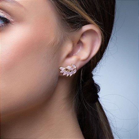Brinco Navetes Delicado Semijoia Cristal Rosa Banhado a Ouro