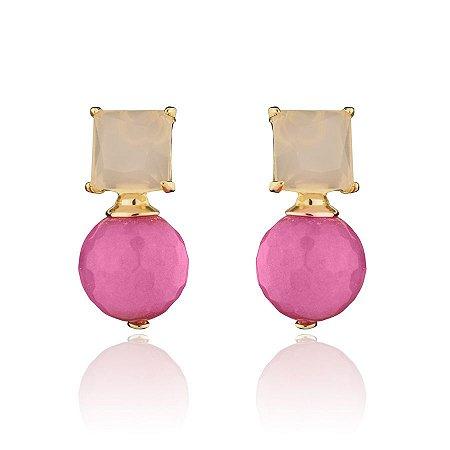 Brinco Pedra Quadrada Rosa Mais Bola Pink  Folheado a Ouro