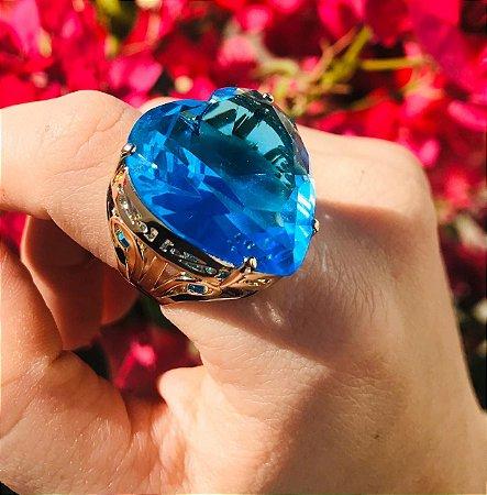 Anel de Coração Pedra Grande Azul Celeste Folheado a Ouro
