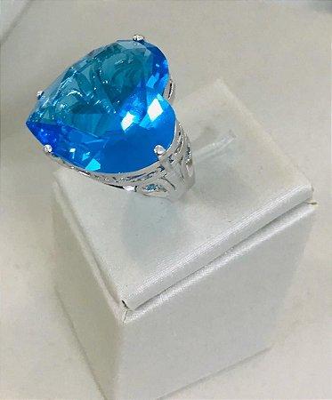 Anel de Coração Pedra Azul Celeste Folheado Ródio Branco