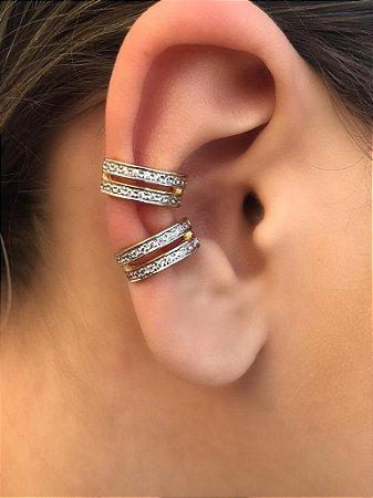 Brinco Piercing Fake Orelha Cartilagem Folheado a Ouro