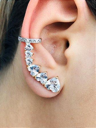 Brinco Ear cuff Com Corações Brancos Zirconia Banhado a Ouro