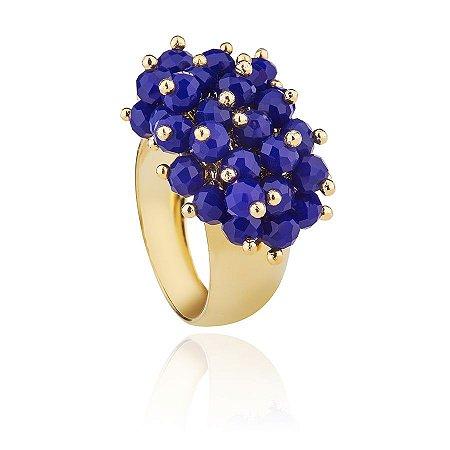 Anel de Pedras Azuis Cacho de Pedras Jade Banhado a Ouro