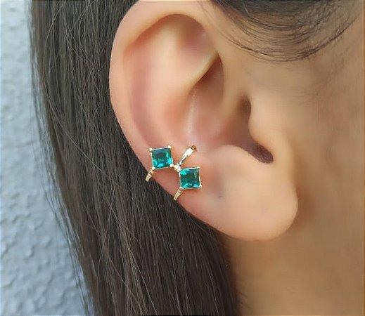 Brinco Piercing Fake Orelha Verde Cartilagem Banhado a Ouro