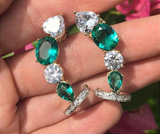 Brinco Ear Cuff Pedras Cristais Coração Gota Banhado Ouro