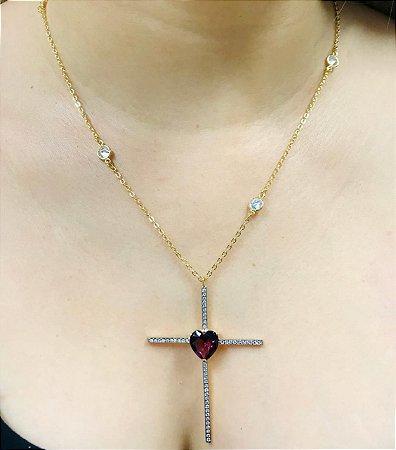 Colar Crucifixo Cravejado e Coração Corrente Tiffany Banhado