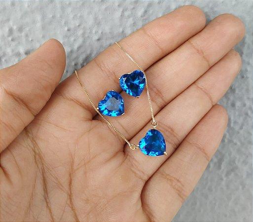 Conjunto Colar Brinco Coração Azul Safira Banhado a Ouro