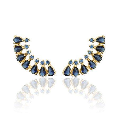 Brinco Ear Cuff com Zirconia Azul Cravejadas Banhado a Ouro