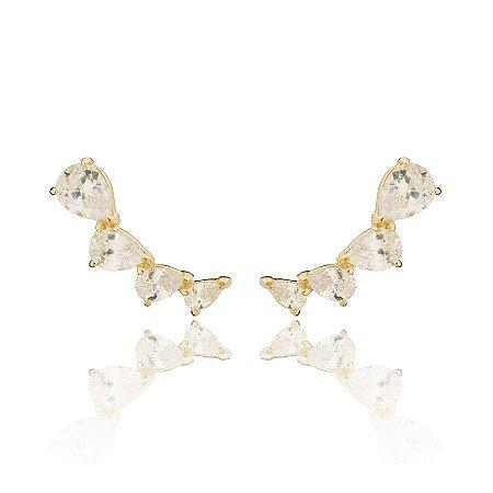 Brinco Ear Cuff Pedras de Zirconias Brancas Banhado a Ouro