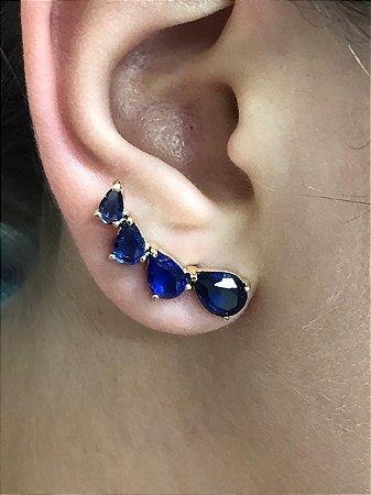 Brinco Ear Cuff Pedras Zirconias Azuis Banhado a Ouro
