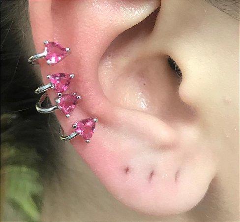Piercing Fake Orelha Zirconia Coração Rosa Banho Rodio Branco