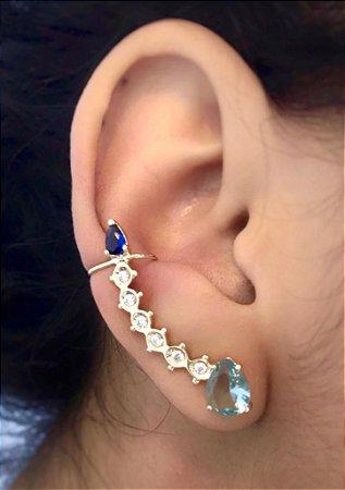 Brinco Ear Cuff Zirconias Azul em Gota Folheado Em Ouro Par