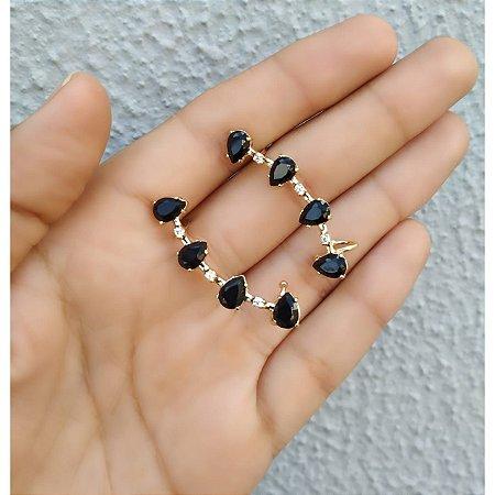 Brinco Ear Cuff Zirconias Gotas Negras Folheado a Ouro Par