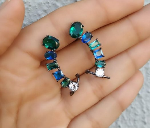 Brinco Ear cuff Pedra Oval Verde e Azul Folheado Ródio Negro