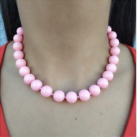 Colar Gargantilha Bolas Rosa Pink Banhado a Ouro Verão