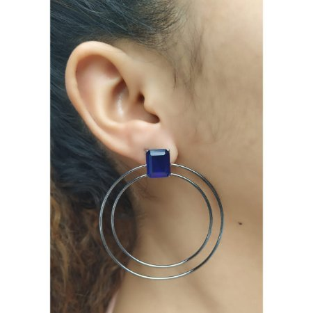 Brinco Argola Dupla Pedra Cristal Azul Rodio Negro Moderno