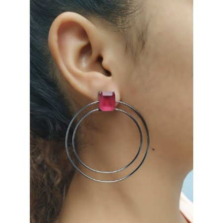 Brinco Argola Pedra Gota Cristal Rosa Rodio Negro Moderno