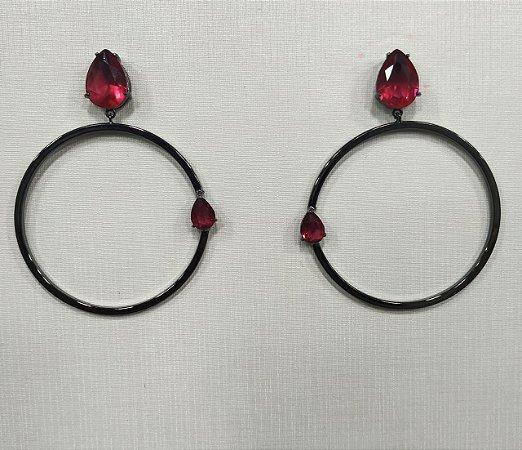 Brinco Argola Gota Moderna Rosa Pink Banhado em Rodio Negro