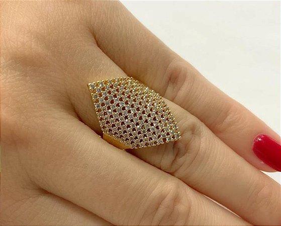 Anel Cravejado Micro Zirconia Grande Banhado a Ouro Luxo